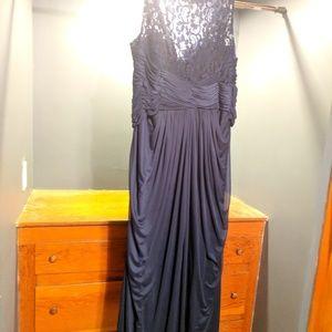 David's Bridal Marine Long Mesh Dress Corded Lace